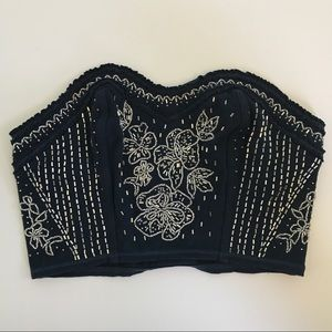 Abercrombie & Fitch Beaded Flow Navy Blue Crop Top