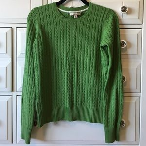 Merona Sz M Green Cotton Cable Sweater