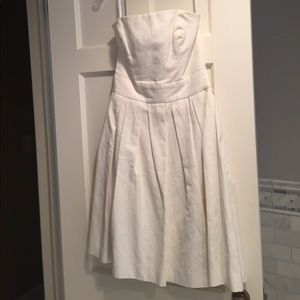 White strapless French connection dress