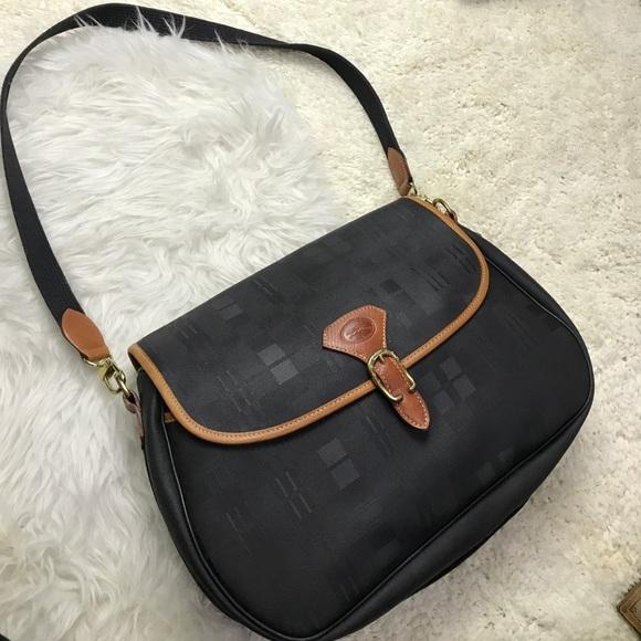 Longchamp Bags Bag Purse Leather Canvas Black Poshmark