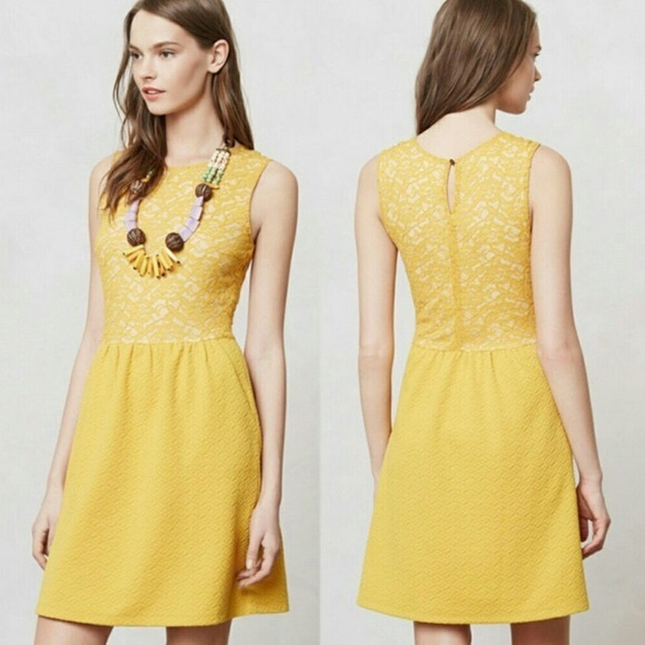 Maeve Anthropologie Vera Lace Dress Yellow S