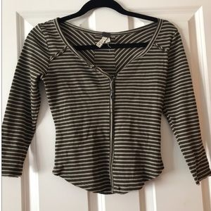 FREE PEOPLE GREEN AND WHITE STRIPED HENLEY