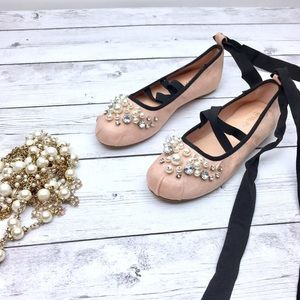 Lace Up Flats Pearl Embellished Suede Ballet Flats