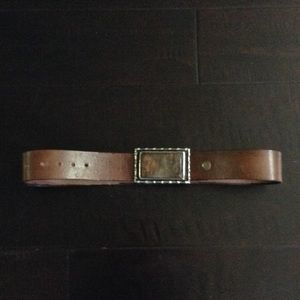 Vintage leather belt with stone & metal buckle