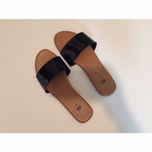 H&M Shiny Black Slide Sandals