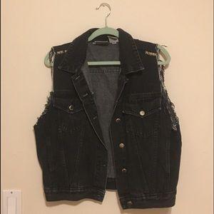 Punk black denim sleeveless jacket with studs