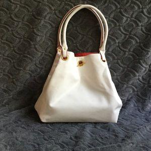 Clarins white purse