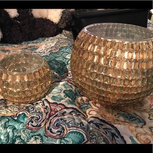 Other - Gold crystal candle bowls