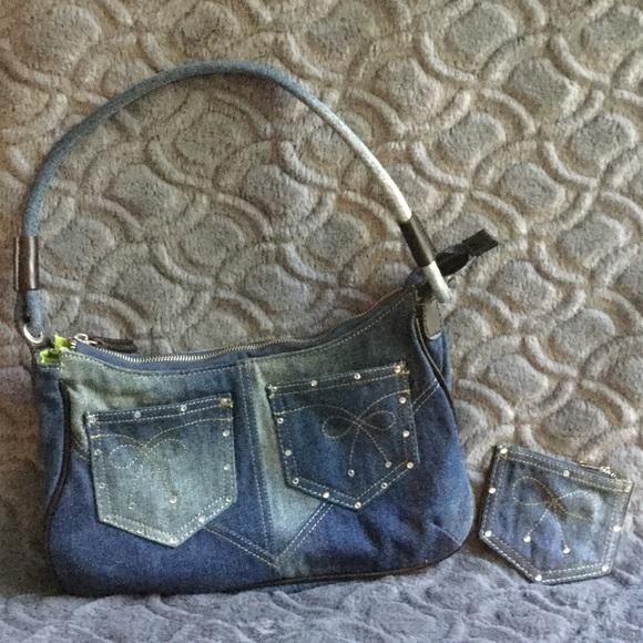 Handbags - Denim pocket book with matching change purse.