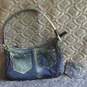 Bags - Denim pocket book with matching change purse.