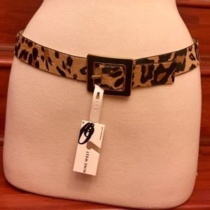 NINE WEST Leopard Genuine Cow Hair Belt 1.25""
