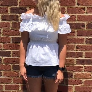 NWT White Ruffle Off-Shoulder Top