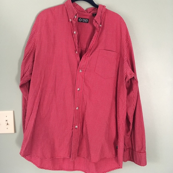 71 off chaps other chaps size l red and white mens for Red and white button down shirt