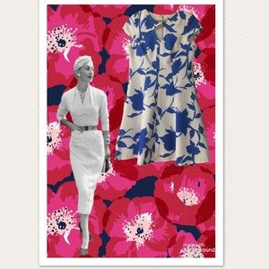 Julian Taylor Royal Blue & White Cap Sleeve Dress
