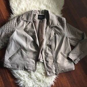 Forever 21 Jackets & Blazers - taupe / tan faux leather jacket with zippers