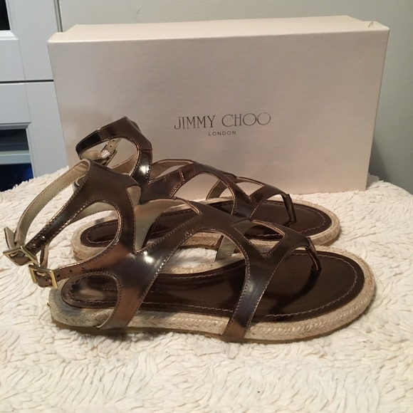 36b7032f416 💯Authentic Jimmy Choo Gladiator Sandals Bronze 35