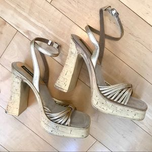 Candies Gold Leather Strappy NEW Platform Sandals8