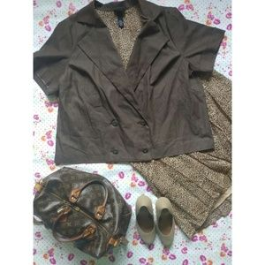 Jackets & Blazers - Brown Short Sleeve Jacket (plus)