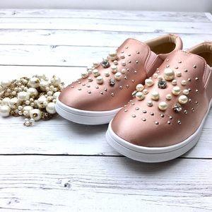 Decor Sneaker Dusty Rose Satin Embellished slides
