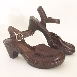 Born Shoes - Born Brown Leather Heeled Mule Clog Ankle Strap 6