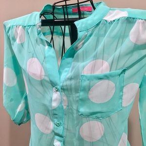 Tops - Pretty mint green & white dot sheer blouse