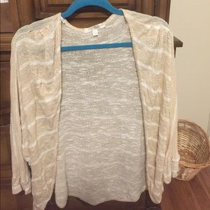 Cardigan tan and white striped