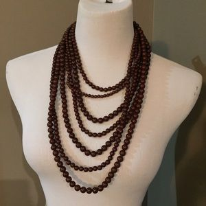Jewelry - Brown bead necklace & earring set