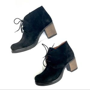 NIB Black Leather Suede Lace Up Boots
