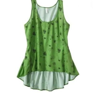 XHILLIERATION~Lucky Clover Hi-Low Tank Top~size S