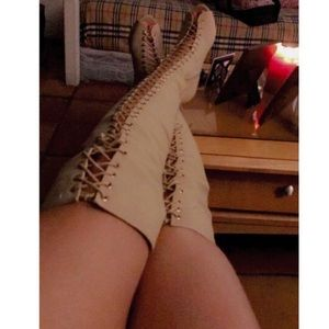 Shoes - Thigh High Lace Up Peep Toe Boots