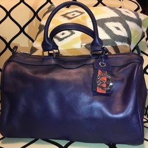 Longchamp pearlized navy leather satchel purse