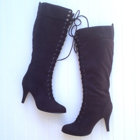 0d65c35a5f Diba Shoes | Debra Black Knee High Lace Up Heels Boots | Poshmark