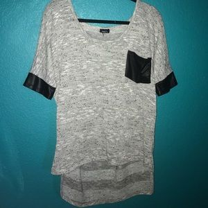Rue 21 Tops - Grey black leather top