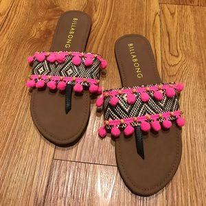 59d491a1b706 Billabong Shoes - Never Worn Billabong Pom Pom Sandals size 7.5