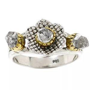 Silver rough diamond ring flower design 2 tone