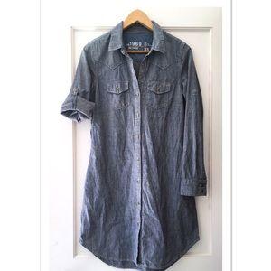 Gap Chambray Denim Stripe Western Shirt Dress XS