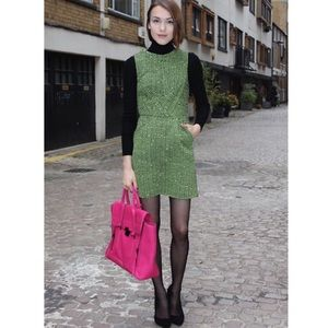 Topshop Green Tweed Sheath Dress