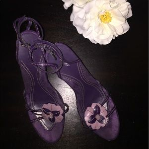 Lilac and purple ankle strap heel