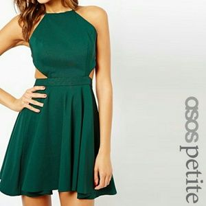 Green skater/party dress with strappy back detail