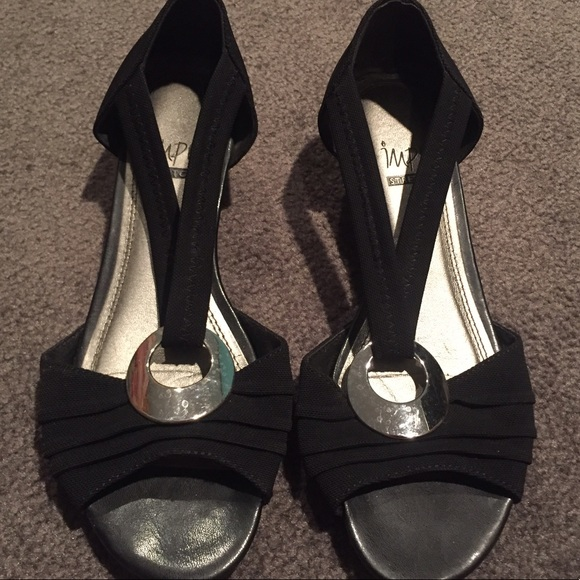 7e2caf38b6f3 Impo Shoes - Impo Stretch Sandals in Black with Heel