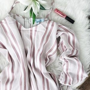 She and Sky Tops - 🆕 pink + white bubble tie sleeve top