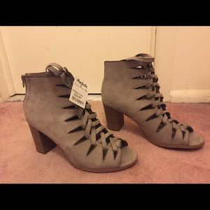 lace up peep toe suede bootie