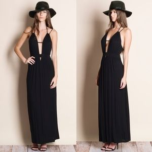 DAISY Open Back Maxi Dress - BLACK