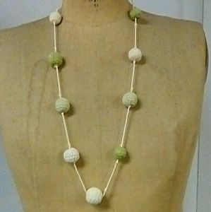 Crochet sage and cream long ball necklace