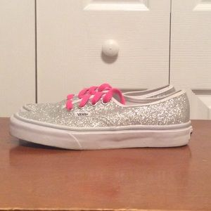 *Rare* Silver Glitter Vans with Pink Laces