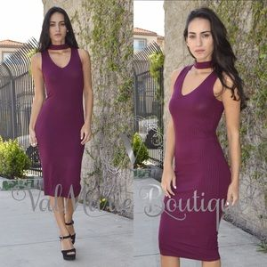 ValMarie Boutique LLC Dresses & Skirts - Eggplant Ribbed Lightweight Midi Dress