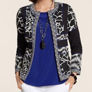 Chico's Jackets & Blazers - Chicos Artisan Jacquard Blocked Jacket Sz 1 NWT