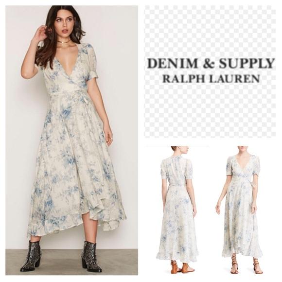 7ca1776254 Denim   Supply Gauze Wrap Tie Floral Dress. NWT.