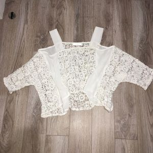 😍LF Millau cold shoulder lace crop top,  like new