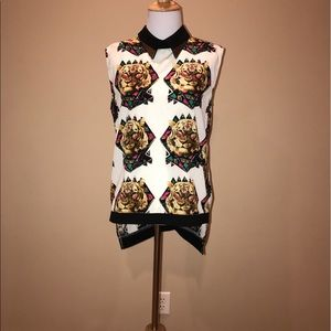 Tiger Print H&M blouse size small